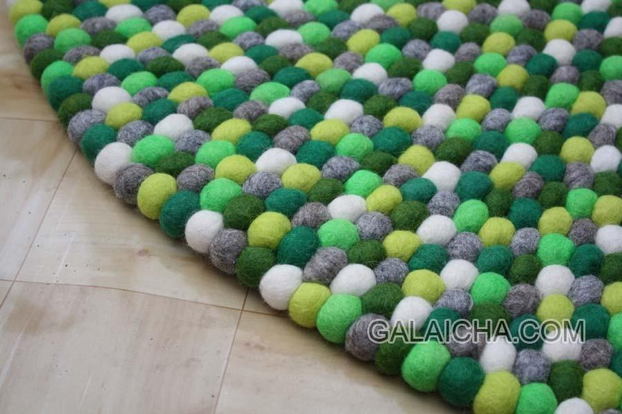 Felt Ball Rug , Nursery Rug , Pom Pom 100 % Wool Carpet Multicolor Pebble  Rug