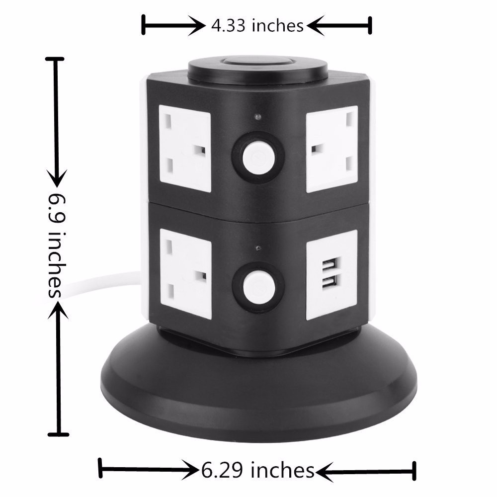 240v Vertical Electrical Power Strip Plug With Usb Colour 4 Way ...