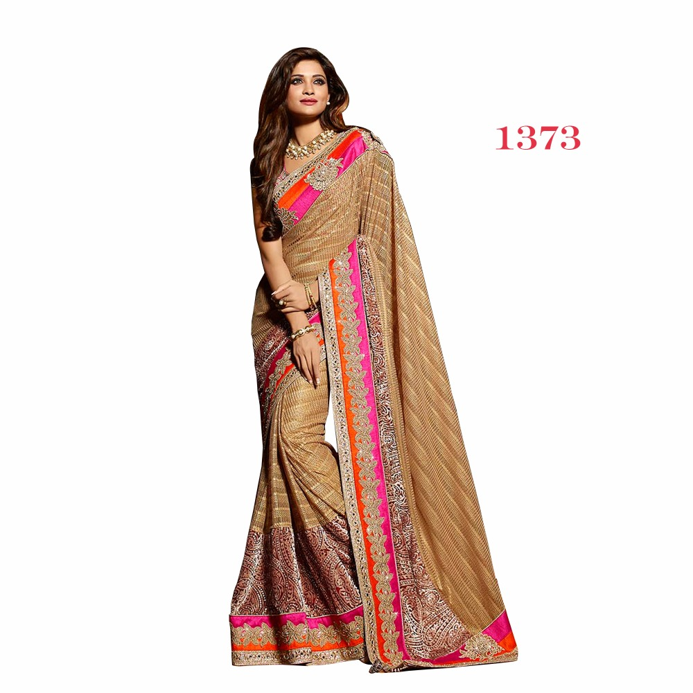Rusk color Dupion silk saree with fancy lace border