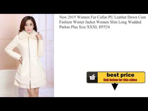 New 2015 Women Fur Collar PU Leather Down Coat Fashion Winter Jacket Women Slim Long Wadded Parkas