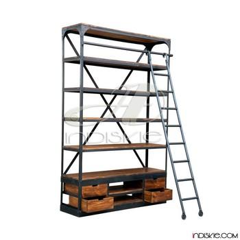Vintage Industrial Bookshelf Bookcase Shelves