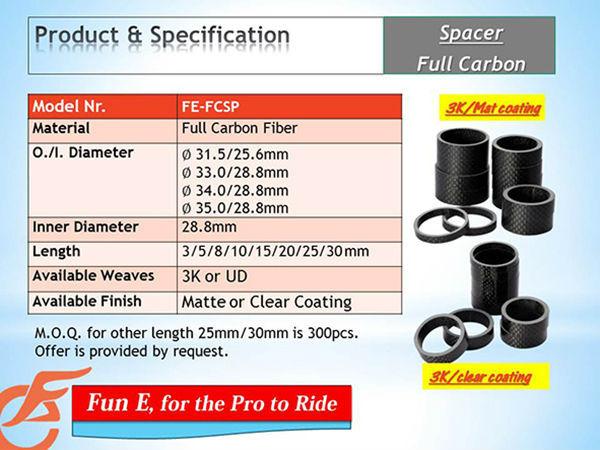 """5mm, 10mm, 15mm, 20mm, 25mm Matte Carbon Fiber Bike Stem Spacer 1-1//8/"""" Tube"""