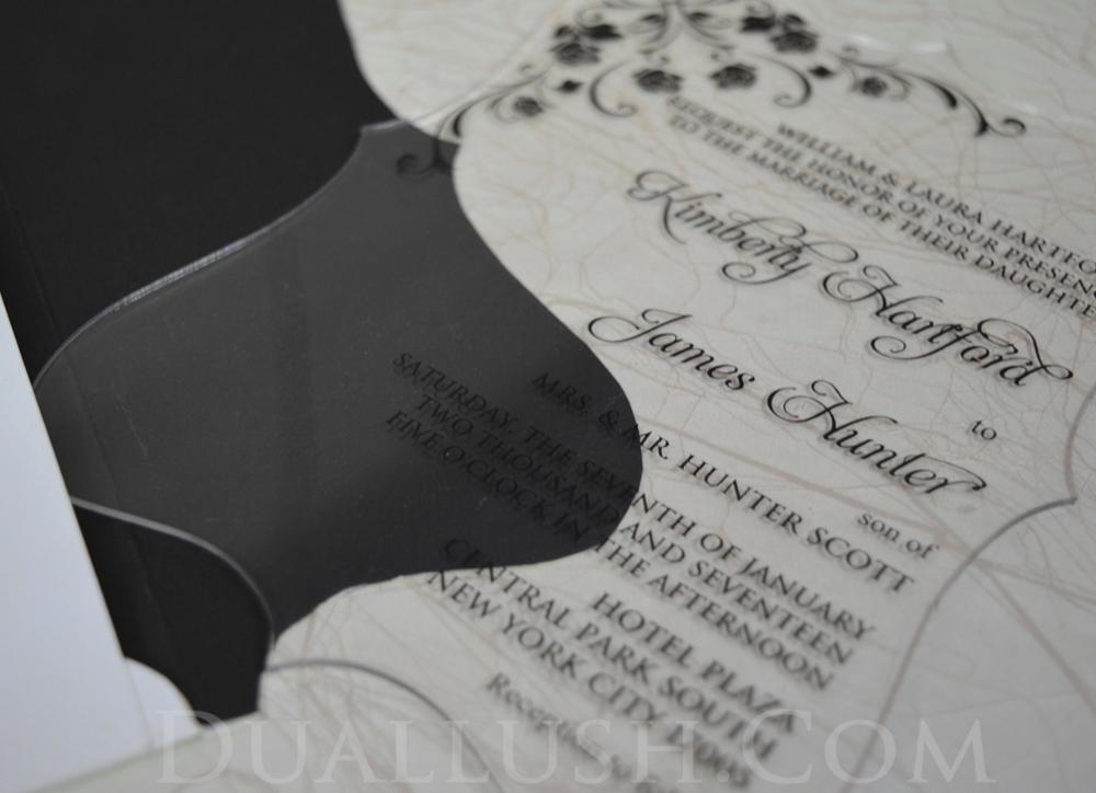 Wedding Invitations In Bulk: Clear Acrylic Wedding Invitation Card Black Printing