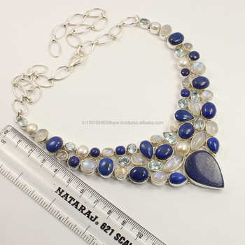 925 Sterling Silver Natural LAPIS LAZULI & Other Gemstones Necklace Manufacturer
