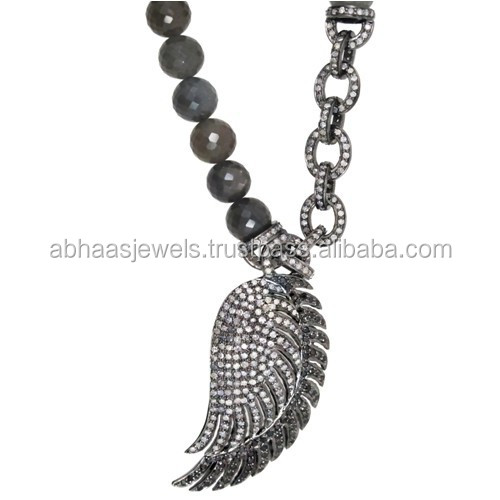 Gray Moonstone Chain Beads Necklace 925 Sterling Silver Pave Diamond Wing Necklace Handmade Beads
