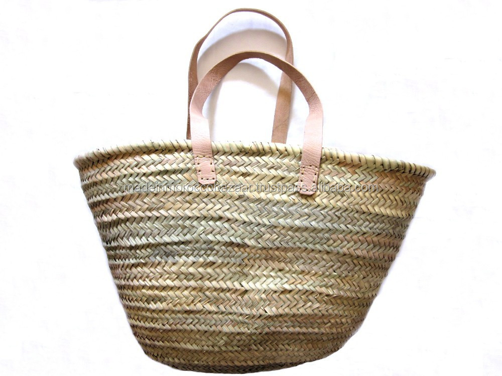Pretty Handmade Straw Summer Beach Bag with Flat Handles