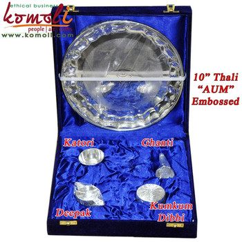 Brass Puja Thali Set Of 5 Puja Items Silver Wedding Return Gift India - Buy  Puja Thali,Wedding Return Gift India,Wedding Return Gift India Product on