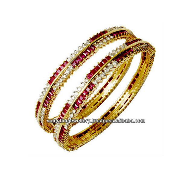 Ruby Diamond Women S Bangle Latest Design Bangles Indian Gold Jewellery Product On Alibaba