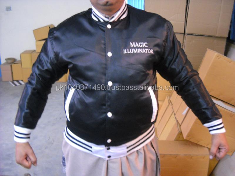 Custom Sports Baseball Jacket Front Pocket Satin Striped Trim