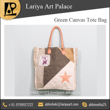 Green Canvas Tote Bag with Various Color Options