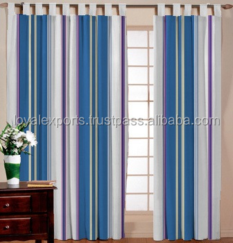 TRADITIONAL COTTON STRIPE LIVING ROOM CURTAIN / FANCY - LIVING ROOM STRIPED CURTAIN / 100% COTTON MADE - DRESSING ROOM CURTAIN