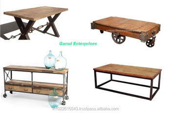 industrial reclaimed wood furniture. industrial furniture coffee dining console table set mango wood industrial reclaimed a