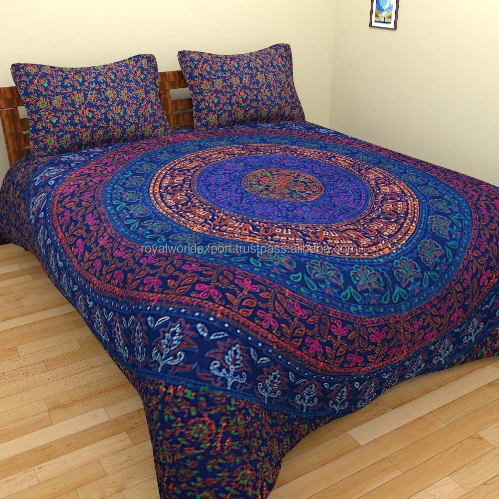 Cotton Donna Cover with 2 pillows /Indian Duvet Doona Cover Comforter Mandala Hippie Bohemian Queen Quilt Cover