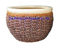 Saigon ceramic flower pot with sedge cover