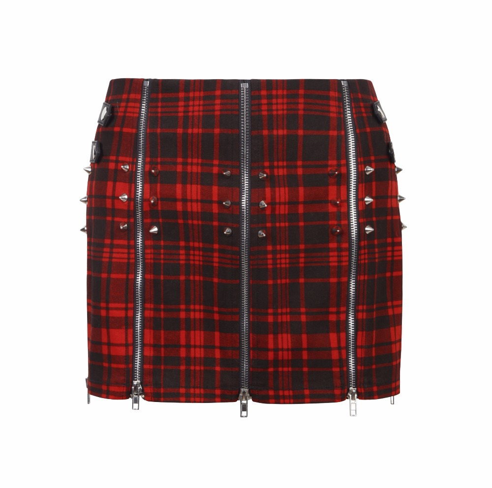 Red tartan pleated mini skirt with spikes and zippers Q-250 Punk Rave