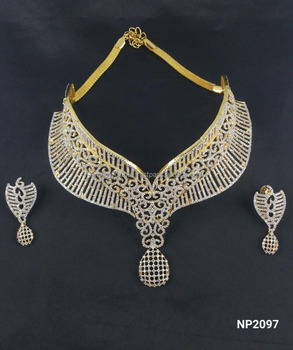 13d4aff22 American Diamond CZ golden silver mix bridal necklace - Bollywood style  necklace set- Indian imitation
