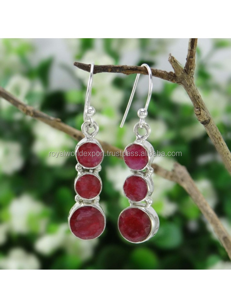 daily use in home Ruby Stone Long Drop Dangle Earrings 925 Sterling Silver Indian Fashion Jewelry