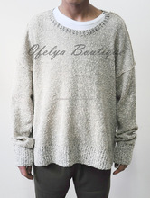 Men's Pullover Homme Oversized Kanye Sweater Wide Round Neck