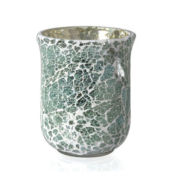 Elegant Le Gl Mint Green Tea Light Holder Is A Luxurious Addition Mosaic Hurricane Candle