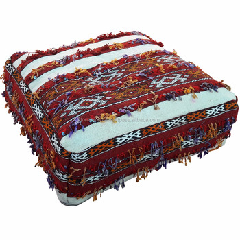 Vintage Handmade Moroccan Kilim Floor Pillow Footstool Pouffe ...