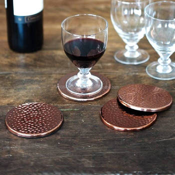 Copper Hammered Drinks Coasters Made In India Set Of Buy - Coasters made from photos