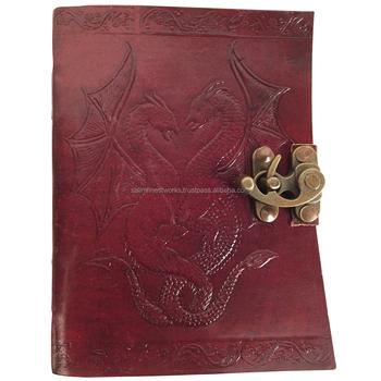 4f0bec765a8 Handgemaakte Dubbele Draak Bewerkt Leer Blank Journal Dagboek Notebook Boek  120 Pagina 'S
