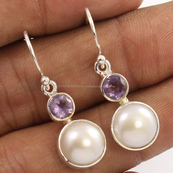 Hot Design Best Earrings Natural Amethyst Pearl Gemstones 925 Sterling Silver