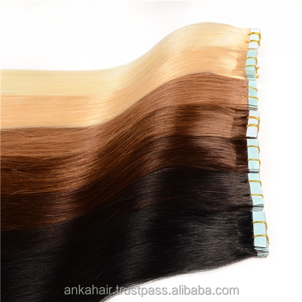 Brazilian human hair mixed color , tape hair extension from 8 to 32 inch