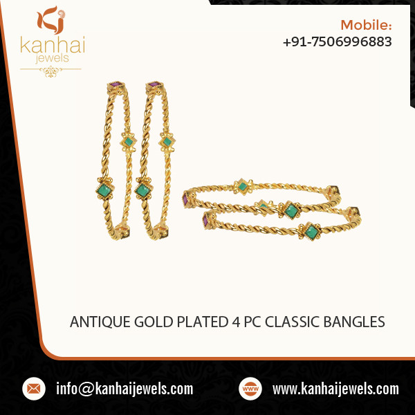 Gold Plated 4 Piece Bangle Set in Wholesale Prices with Export Facility, Wholesale gold plated jewellery in Mumbai, Delhi, Pune