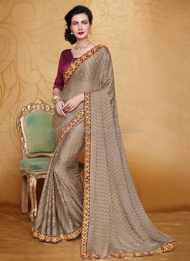 Party Wear Saree Online Design - Saree Online Shopping - Grey Designer  Saree - Wholesale Women Clothing - Buy Party Wear Saree Online Design  25384,New