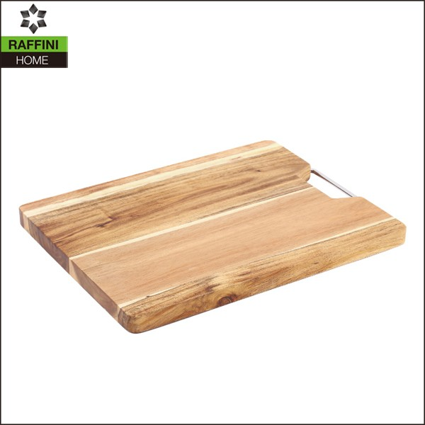 wooden cutting board with handle