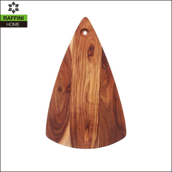 triangle shaped wooden chopping board with hanging hole