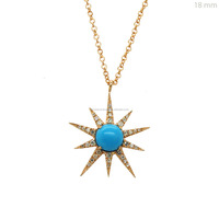 Pave Diamond Turquoise Starburst Pendant 14kt Gold Necklace, Pendant Available in Rose gold / Yellow Gold / White Gold