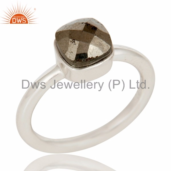 Natural Pyrite Bezel Set Gemstone Ring Wholesale 925 Sterling Fine Silver Designer Ring Jewelry Manufacturer of Wedding Rings