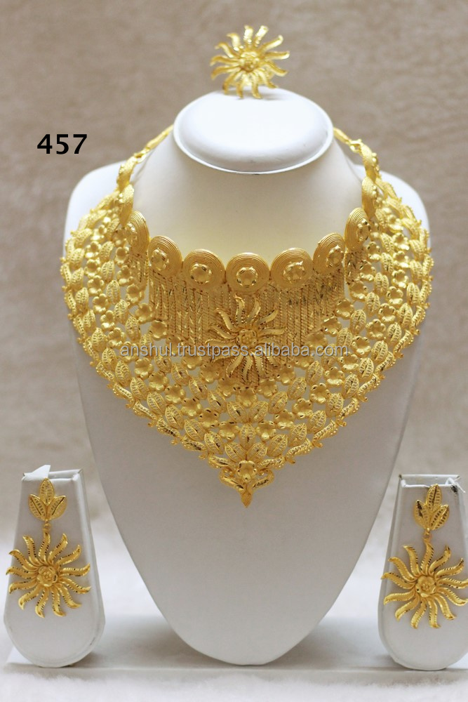 lovely uk heavy bridal carat necklace gold rings wedding set indian grams