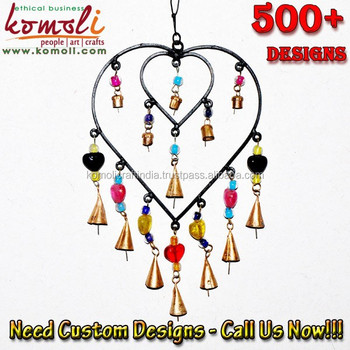 Wrought Iron Heart Shaped Wind Chime With Bells And Beads Buy