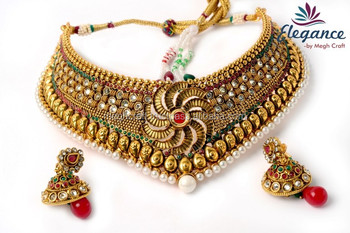 South Indian Style Bridal Wear One Gram Gold Plated Jewelry