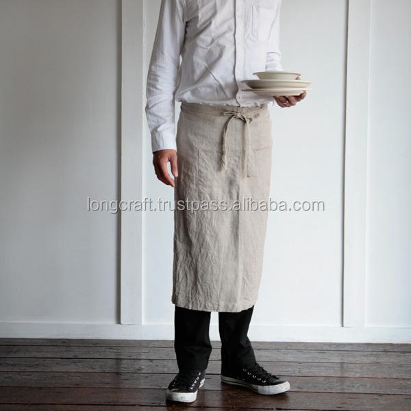 Men Natural Linen Half Apron