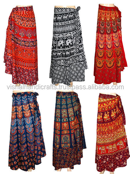 Buy Long Sanganeri Motif Print Ladies Long Wrap Around Skirt Maxi ...