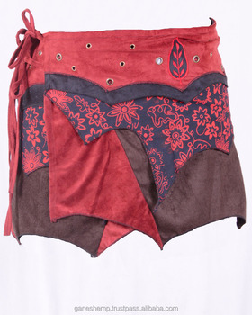 Bohemian Rust Red Shade Side Lace Mini Gypsy Skirt HHCS 133 B