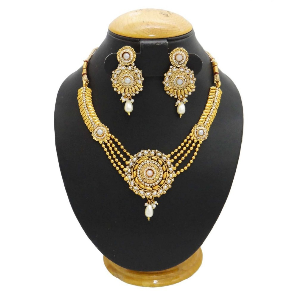 South Indian Jewelry 18k Gold Plated Necklace Set Wedding ...