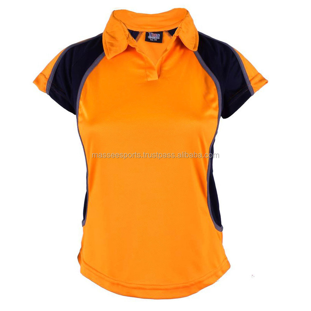 Polo shirt women two colors white collar design buy polo for Two color shirt design