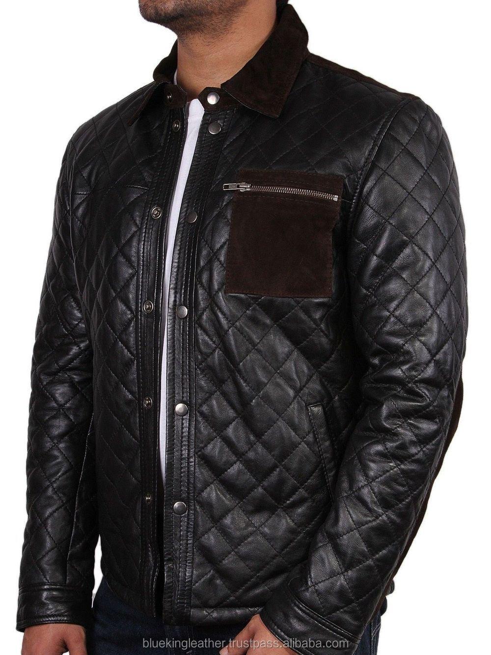 Men Leather Jacket Brand New 100% Genuine Soft Pakistan Lambskin ... : leather quilted jacket men - Adamdwight.com