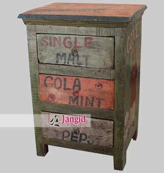 Antique Hand Painted Night Stand Cabinet With 3 Drawer Bedroom Furniture