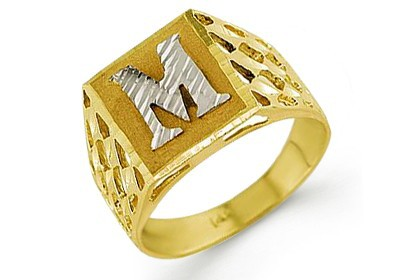 M Letter In Ring 14k Yellow Gold...