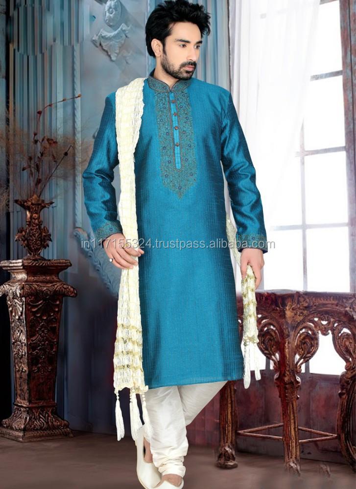 New Traditional Pakistani Designer Indian Blue Designer Silk Kurta Pajama Tamielle Com