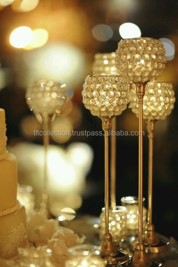Gold Wedding Centerpiece Tabletop Crystal Candle Holder Tealight