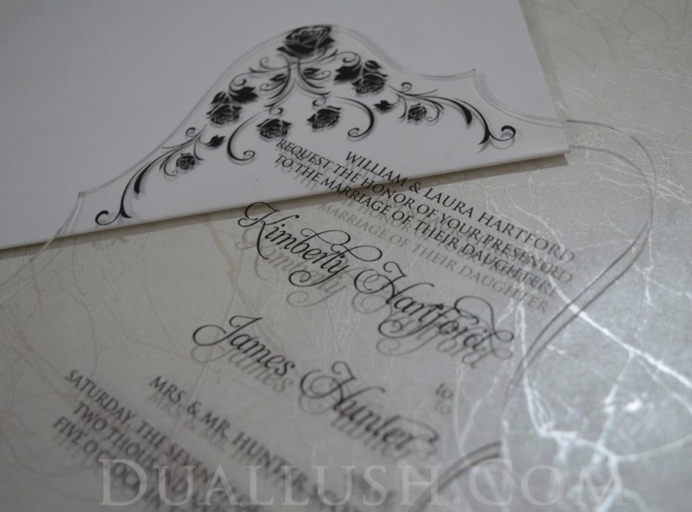 Clear Wedding Invitations: Clear Acrylic Wedding Invitation Card Black Printing