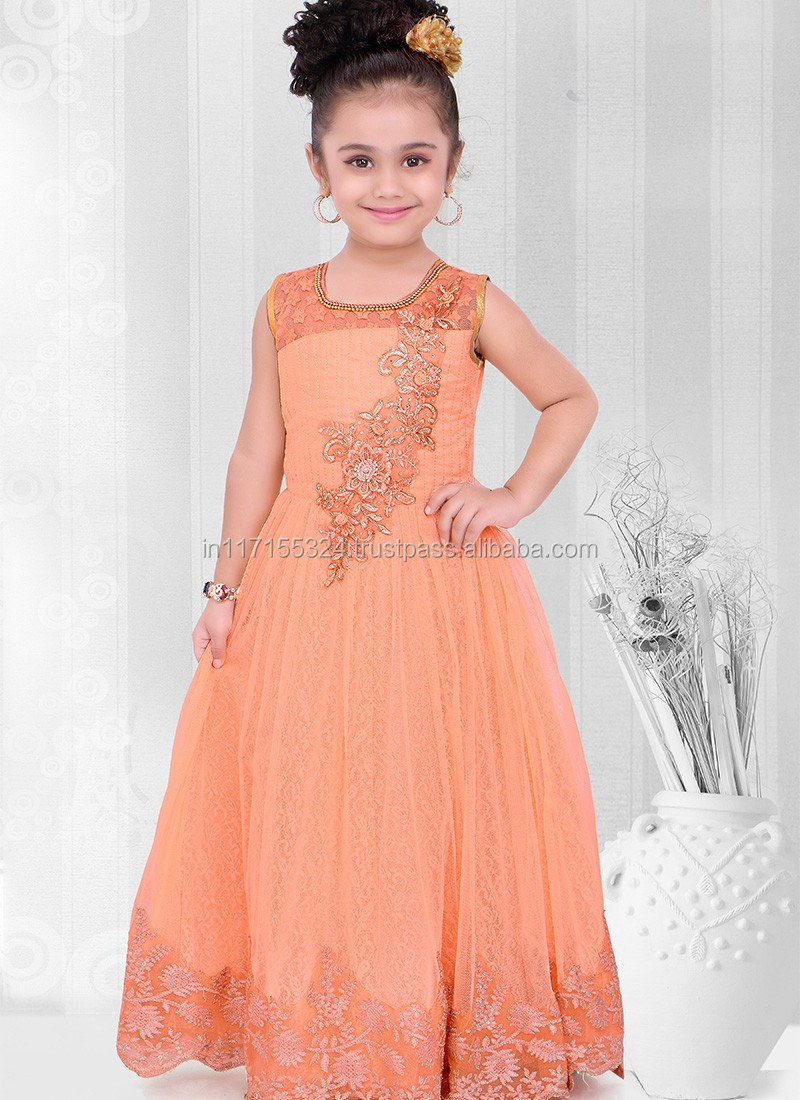 Kids 2016 Clothes Latest Baby Frocks Net Designs Elegant Dress For ...