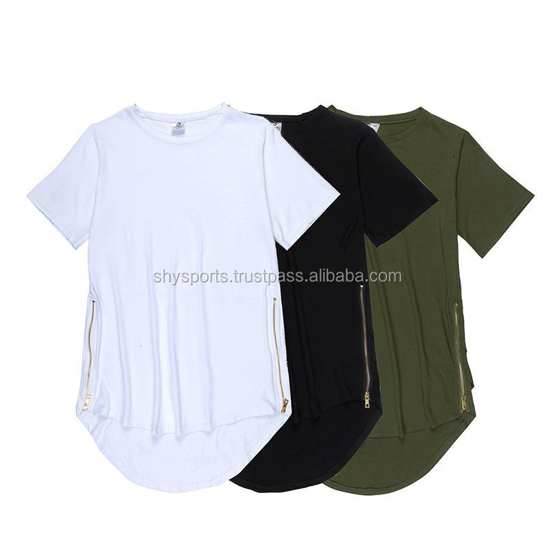 Men multiple creases side zipper t-shirt kanye west hip hop shirt mens extended rock swag clothes oversized tees